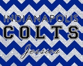 Personalized NFL Indianapolis Colts Inspired Faux Glitter License Plate, NFL Inspired License Plate