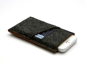 Handmade Mobile case, iPhone 6 Plus Sleeve, iPhone 5 Case, iPhone 6 Case, iPhone 6 Plus Cover, iPhone 6 Sleeve - Dark Gray & Fulvous