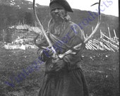 C1910 Somewhere in Scandinavia, Possibly Norway, a Sami Lapp Man with Reindeer Antlers in Lappland