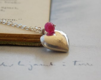 Ruby and Tiny Heart Sterling Silver Charm Necklace, Vintage Heart, Dainty, Romantic, Flower Girl Gift