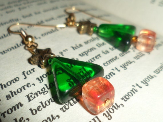 Christmas Tree Earrings Beaded