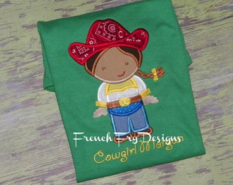 Customized Cowgirl Rodeo Themed Applique T-Shirt