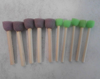 "Stencil Sponge Spouncer Stippler Set 3/4"" and 1/4"" Sponge Tip Paint Brush Collection DIY Water Acrylic Oil Wood Handle 1.9 cm .64 cm"