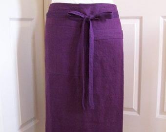Deep Purple Linen Cafe Apron, Half Utility Apron, Restaurant Long Cafe Apron