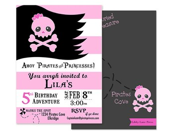 PIRATE PRINCESS Birthday Party Invitation - Pink Skull - Pink and Black - Customized Printable Invitation