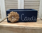 Distressed Navy Blue and White Wedding Cards Box with Burlap Flower Embellishment