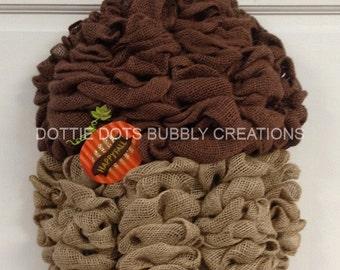 3-D Burlap Happy Fall /Harvest Acorn Shaped Wreath