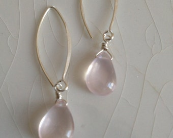 Free Shipping - Smooth Rose Quartz Pear/Briolette Drops and Sterling Silver Hoop/Dangle Earrings