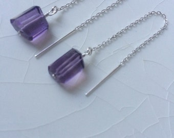 Grade AAA Amethyst Nugget & Sterling Silver Threader/Ear Thread Dangle Earrings