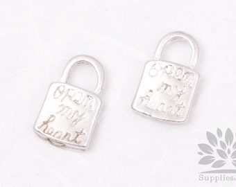 "P457-MR// Matt Original Rhodium Plated ""Open my heart"" Lock Pendant, 4pcs"