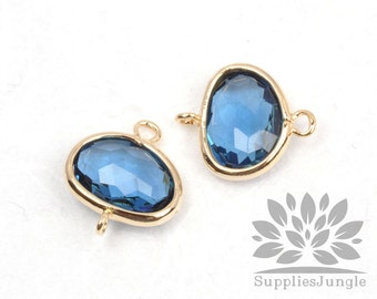 F130-G-BT// Gold Framed Blue Topez Glass Stone Connector, 2 pcs