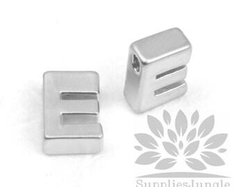 "IP002-MR-E// Matt Original Rhodium Plated Simple Initial ""E"" Pendant, 2 pcs"