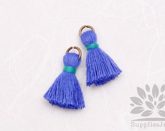 T002-CO-PBG// Pastel Blue, Green Jade Cotton Tassel Pendant, 4pcs, 23mm