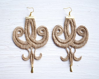 Tan and Gold Lace Earrings