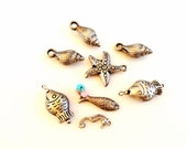 Fish shellfish pendants charms assortment salvaged lot recycle reuse 8 pieces lot 04