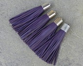 Deep Purple Leather TASSEL in  16mm Gold, Silver, Antique Silver or Antique Brass Plated Cap- Pick your tassel cap