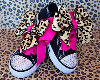 Cheetah Swarovski Crystal Bling Shoes for Toddlers Size 8