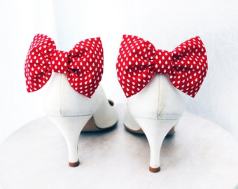 Red Shoe clips, rain drops Bow tie, Shoe Bow clips, Prop, Photographer, Holidays red bow, Wedding bow tie