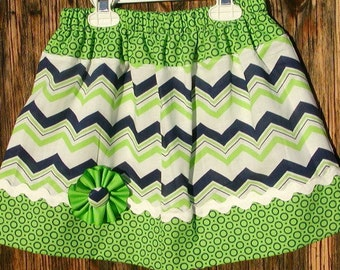 Girls skirt, Twirl Skirt, Infant skirt, toddler skirt, Custom..Green N Navy Chevron N Dots..sizes 0 to 10