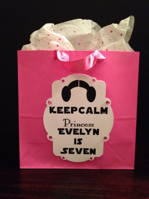 Star Wars Gift Bag - Princess Leia, Star Wars, custom gift bag, keep calm logo, Star Wars party favor