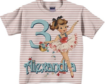 Ballerina Shirt, Personalized Girl's Ballet T-Shirt, Personalized Ballet Dancer Birthday Shirt