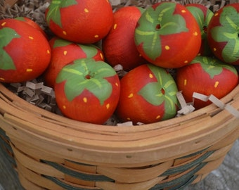 Play Food Strawberries Wooden Toy Fruit Pretend Food Pretend Kitchen
