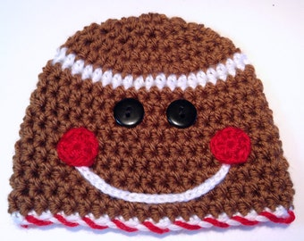 Gingerbread Man Hat, Christmas Baby Hat, Christmas Photo Prop, Holiday Baby Hat, Crochet Baby Hat, Newborn Christmas Hat, Newborn Hat