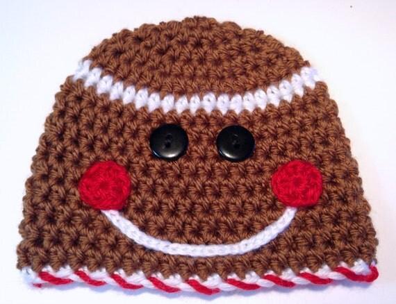 Free Crochet Pattern For Gingerbread Man Hat : Gingerbread Man Hat Christmas Baby Hat Christmas Photo Prop