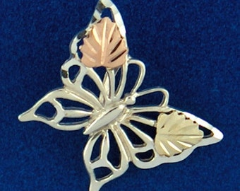 Whitaker's Black Hills Gold on Silver Jewelry Small Butterfly Slide Pendant