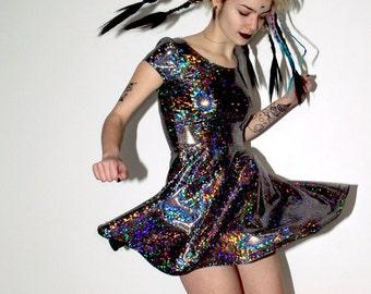 DEVOWEVO Hologram Rainbow Skater Dress + SHORTS