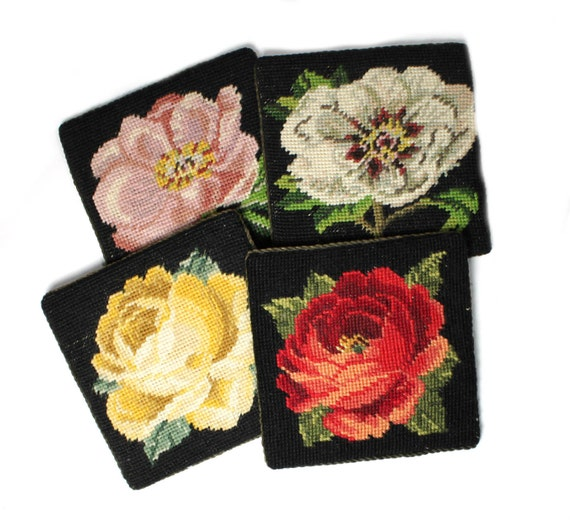 Needlepoint, petit point flower coasters- yellow rose, red cabbage rose, pink single rose and white double rose