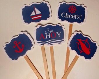 Nautical Red, White & Blue Swizzle Sticks  - set of 20