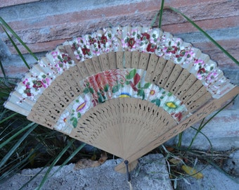 Vintage Wood and Floral Fabric Fan