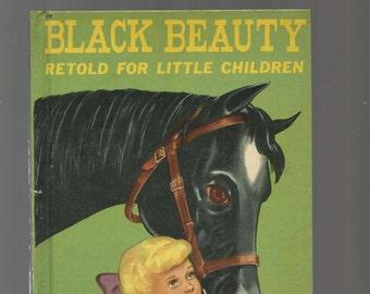 VINTAGE WONDER BOOK, Black Beauty Retold For Little Children, Vintage 1950 Glossy Hardcover Children's Book, Nice Colorful Illustrations