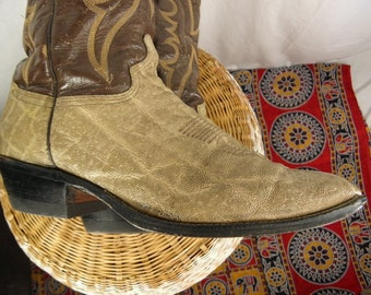 Sz 10D Exotic Skin ABILENE Brand Vintage 1960s Brown Western Boots
