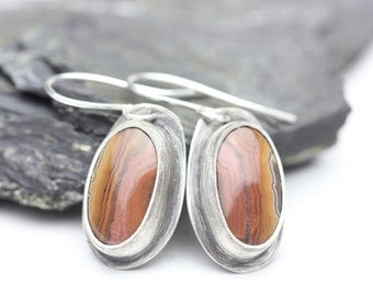 Dryhead Agate & Sterling Earrings, Orange, Pink, Red, Brown, Stunning Gemstones, OOAK Drop Earrings