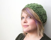 Ready to Ship: sage green. crochet hat. slouchy hat. cable stitch hat. light olive green. green crochet hat. winter hat. christmas gift.