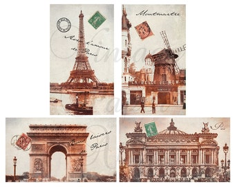 Set of 4 Magnets PARIS LANDMARKS Eiffel Tower Arc de Triomphe Moulin Rouge Opera House from Vintage Paper Attic