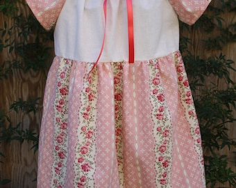 SALE SALE Shabby chic ivory/cream and pink floral print peasant dress perfect for flower girls,weddings,birthdays, photoprop