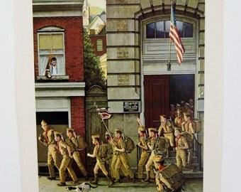 Vintage 1960's Norman Rockwell Scouting is Outing Boy Scout Print