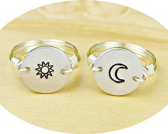 Sun OR Moon Ring- Hand Stamped Sterling Silver Filled Ring- Any Size- Size 4, 5, 6, 7, 8, 9, 10, 11, 12, 13, 14