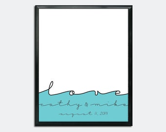 Wedding Guestbook Poster PDF - Sea of Love - Personalized Printable
