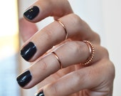 Knuckle Ring Set,  4 Gold Rings,  14K Gold Filled Stacking Rings, Gold Knuckle Rings, Beaded Ring, Midi Rings