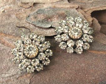 Crystal Multi Stone Round Flower Charms 14mm Swarovski Rhinestones Brass Ox Settings (2)