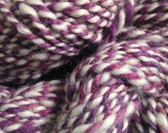 Hand Spun Alpaca Yarn, purple and white alpaca