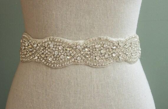 Wedding Sash, Bridal Belt, Bridal Sash, Rhinestone Applique, Jeweled Bridal Sash, Bridesmaids Sash, Swarovski Sash, Crystal Dress Sash