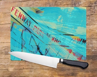 Glass Cutting Board - Fenway Park Boston Small or Large Kitchen Art for Your Countertop Hostess Gift