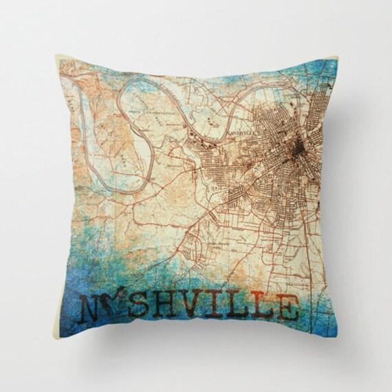 Nashville Map Neutral Tones Throw Pillow Music City Home Decor Product ...