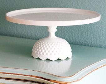 "14"" Cake Stand / Wedding Cake Stand Pedestal / White Ceramic Cake Stand / Cake Dish Cake Plate Cake Platter / Milk Glass Cake Stand"