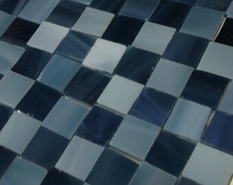 "SLATE - BLUE GREY Charcoal (1/2"") Stained Glass Mosaic A7"